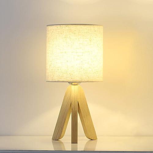 Lampe de table moderne nuit lumière lin abat-jour base en bois pour table de chevet de bureau