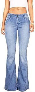 Mujeres Casual Bell Bottoms Jeans De Cintura Alta Acampanada Pantalones De Mezclilla Talla Grande para Mujer