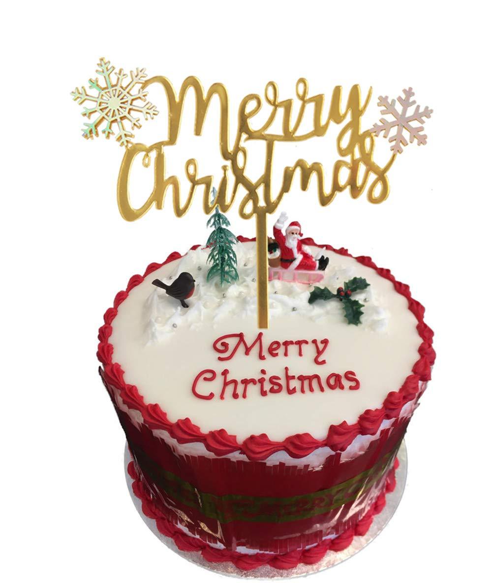 Merry Christmas Acrylic Cake Topper Cupcake Topper For Xmas Cake Decoratio EW