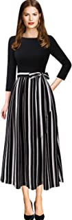 VFSHOW Womens Elegant Patchwork Pockets Print Work Casual A-Line Midi Dress