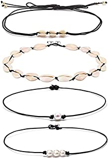snawowo Shell Choker Necklace Natural Cowrie Pearls Seashell Necklace Adjustable Handmade Cored Bracelet Hawaiian Beach Jewelry Set for Women Girl