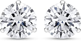 1/4-2 Carat Total Weight Round Diamond Stud Earrings 3 Prong Martini Push Back (H-I Color SI2-I1 Clarity)