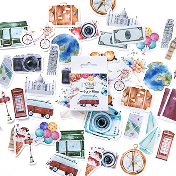 XxiaoTHAWxe 45Pcs Box DIY Deco Rative Cute Love Travel Stickers Theme Diary Scrapbook School Stationery