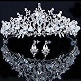 White Tiaras and Crowns for women, Pageant Crowns for Women and Girls Crown with Earring Princess Crown Pageant Tiara Princess Tiara and Crown for Women Girls