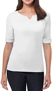 Ellen Tracy Women's Notched Collar Rolled 1/2 Sleeve Stretch Top