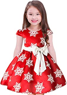 FYMNSI Girls Christmas Dress Kids Snowflake Chevron Print Bowknot Dress Cap Sleeves Xmas Party Prom Gowns