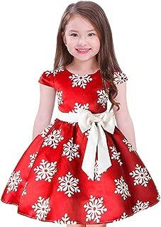 Girls Christmas Dress Kids Snowflake Chevron Print Bowknot Dress Cap Sleeves Xmas Party Prom Gowns