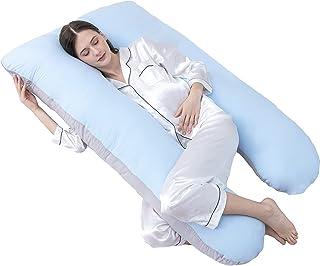 بالش های بارداری DOWNCOOL با روکش پنبه ای ، بالش بدن کامل بارداری U Shaped برای خواب ، پشتیبانی از پشت ، لگن ، پاها ، شکم برای زنان باردار (خاکستری آبی ، 55 * 28 اینچ)