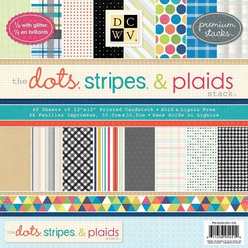 DCWV 12 by 12-Inch Dots, Stripes and Plaids Premium Printed Mat Stack