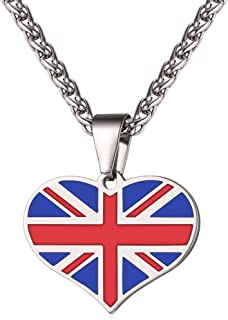 U7 Personalized National Flag Jewelry I Love My Country Stainless Steel Chain Charm Pendant UK/US/France/Russia/Israel Flags Necklace