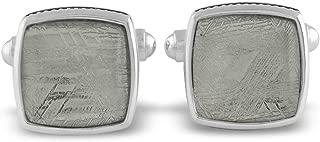Starborn Sterling Silver Square Muonionalusta Meteorite Cuff Links