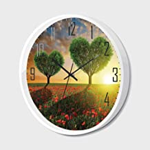 SfeatrutMAT Silent Wall Clock Non Ticking Metal Frame HD Glass Cover,Valentines Day,Poppy Field Heart Shaped Trees Sunset Cloudy Sky Rural Romantic Meadow,for Living Room, Bedroom,Office,12inch