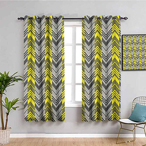 SONGDAYONE Yellow and White Fabric curtain, Curtains 63 inch length Herringbone Pattern with Angled Lines Geometric Chevron Zigzags 2 Panel Sets Yellow Cream Grey W72 x L63 Inch
