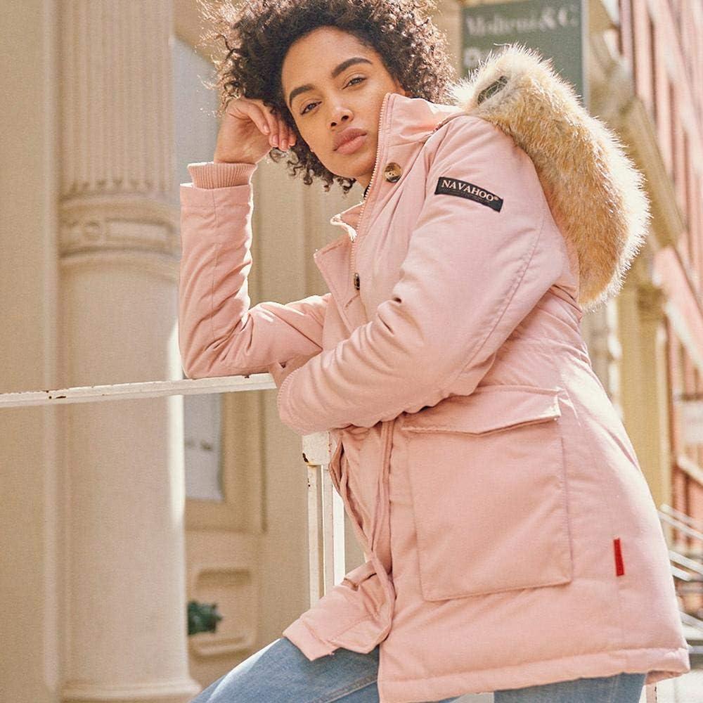 Navahoo Damen Winter-Jacke Winter-Mantel Schneeengel (vegan hergestellt) 13 Farben XS-XXL Rosa