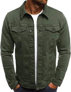neveraway Men Retrol Slim Casual Rugged Wear Cargo Work Denim Jacket