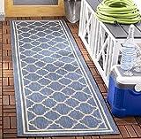 Safavieh Courtyard Collection CY6918-243 Indoor/Outdoor Runner, 2' 3' x 8', Blue/Beige