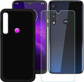 YZKJ Fodral för Motorola G8 Plus Cover svart mjuk silikon skyddande skal TPU skal skal skal + pansarglas skärmskydd för Mo...