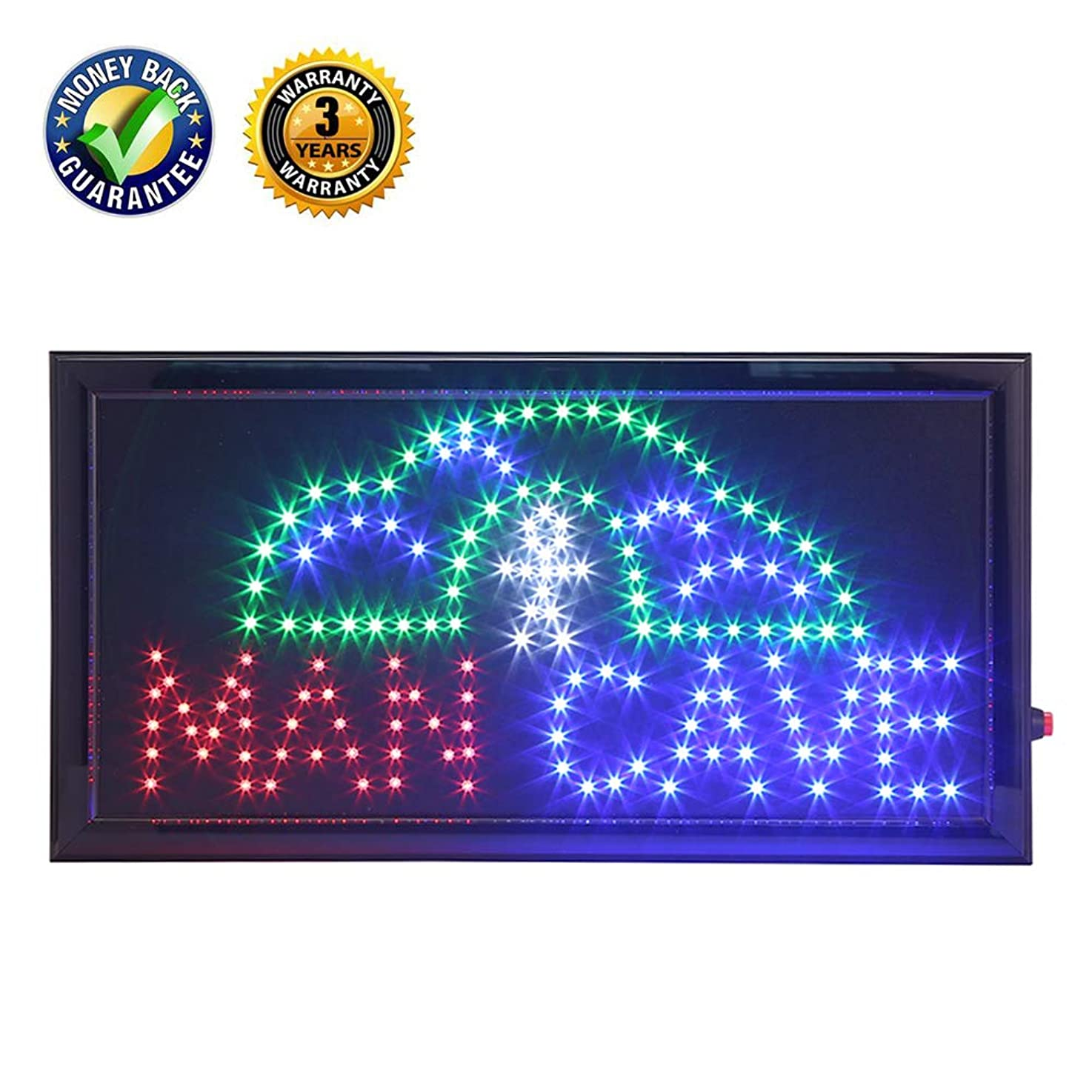 LED Man Cave Sign,Anrookie (19x10inch 110v On/Off withChain) Neon LED Sign Man Cave, 2 Modes for Stationary Lights or Animated, for a Home bar, Basement, or Game Room, Walls, Window, Bar
