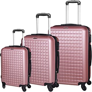 Lolicute Luggage Sets 3 Piece Set Lightweight ABS Suitcase Set Carry on Hardside Luggage with Spinner Wheels (Family 3 Pie...