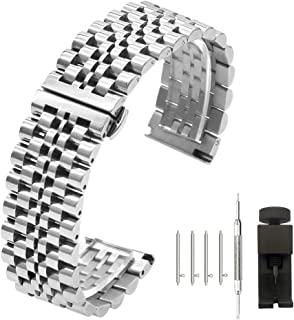 5 Colors for Flexible Watch Strap Polished 7 Rows 20mm 22mm Stainless Steel Watch Band Quick Release Metal Watch Bracelet Deployment Clasp(Black,Silver,Gold,Rose Gold,Two Tone IP Black)