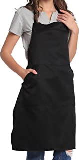 BIGHAS Adjustable Bib Apron with Pocket Extra Long Ties for Women Men, 13 Colors, Chef, Kitchen, Home, Restaurant, Cafe, Cooking, Baking, Gardening (Black)