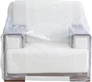 TopSoon 2-Pack Plastic Chair Cover for Storage Waterproof Dust-Proof Armchair Cover Sofa Bag Patio Furniture Cover 46-inch by 76-inch Clear