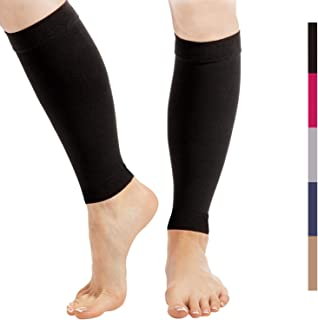 Calf Compression Sleeve for Men and Women - 1-Pair,  23-32 mmHg - Footless Socks for Shin Splint and Leg Cramps Pain Relief,  Running,  Sports,  Travel - Black,  Medium