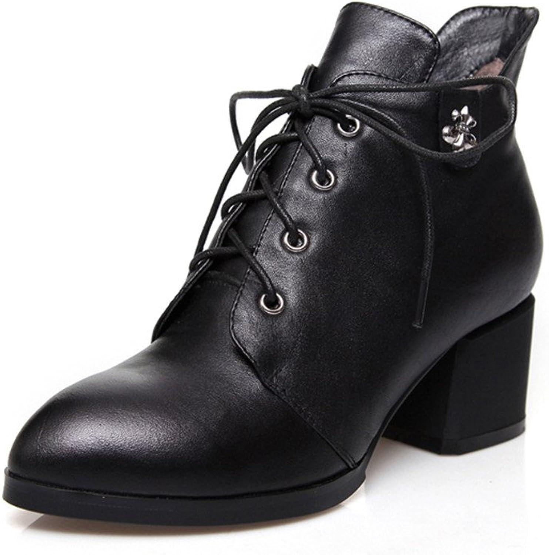 Nio Sju Genuine läder kvinnor Chunky Heel Lace up Ankle Ankle Ankle stövlar svart  butiken gör köp och försäljning