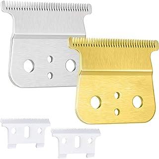 Hugttt 2 pares T Outliner de repuesto para recortadora de pelo de hoja T de cerámica, cuchillas de repuesto compatibles con Andis T Outimer, color dorado y plateado