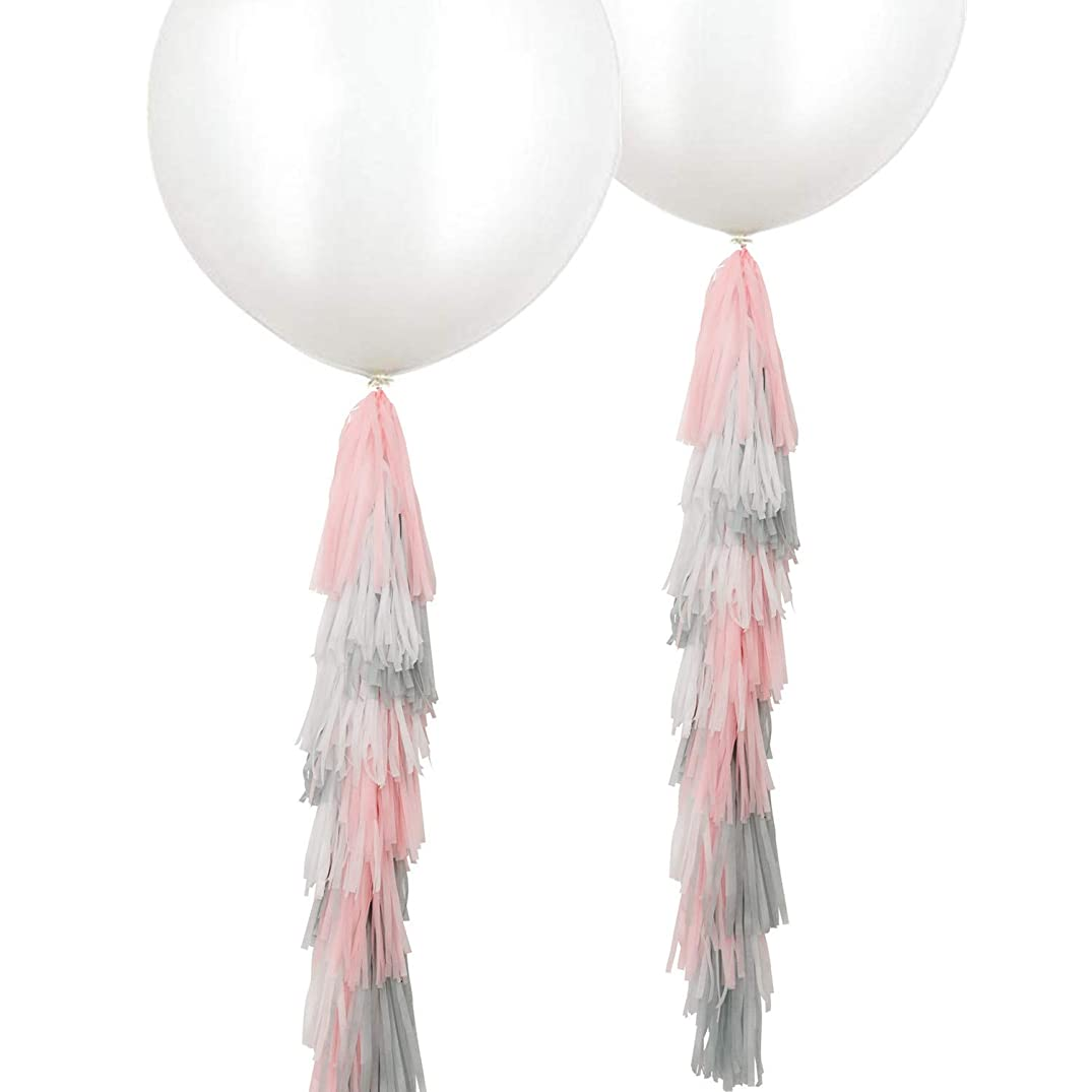 Fonder Mols 2 pcs 36 inch Giant White Round Latex Balloons with Pink Gray White Tassels Garland for Girl Birthday Nursery Room Decorations