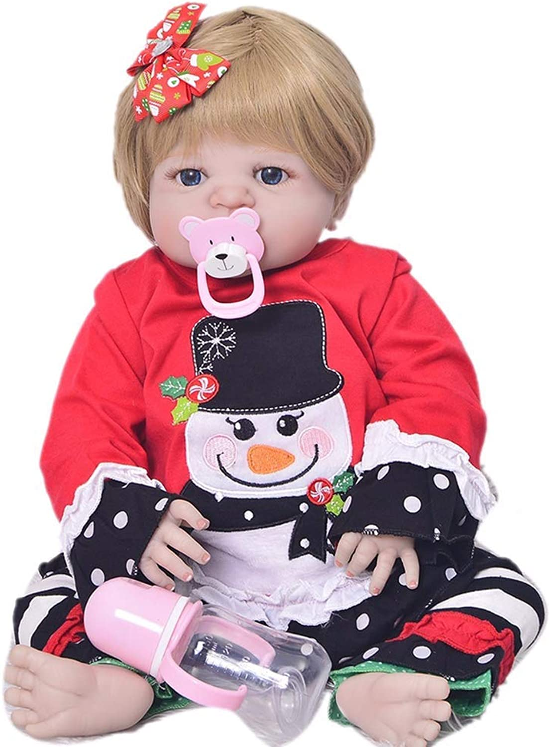 Danping 23inch Soft Vinyl Full Silicone Real Life Like Reborn Baby Doll Newborn Dolls with Snowman Clothes