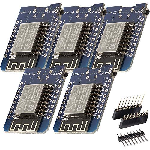 AZDelivery 5 x D1 Mini NodeMcu mit ESP8266-12F WLAN Module kompatibel mit Arduino und Wemos inklusive E-Book!