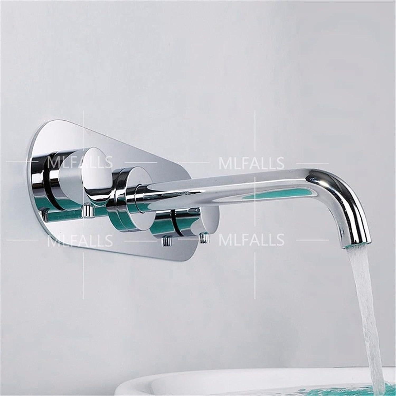 ETERNAL QUALITY Badezimmer Waschbecken Wasserhahn Messing Hahn Waschraum Mischer Mischbatterie Tippen Sie auf die Wand montiert Moderne Zinklegierung mit Doppelgriff DREI