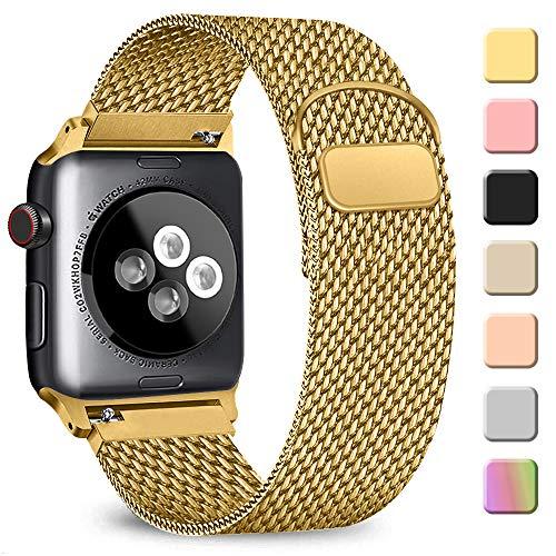 AK kompatibel mit Apple Watch Armband 38mm 40mm 42mm 44mm, Metall Edelstahl Ersatzarmband kompatibel mit iWatch Series 5/4/3/2/1 (07 Gold, 42mm/44mm)