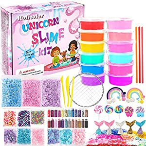 HOLICOLOR Unicorn Slime Kit, Crystal Slime for Girls and Boys, with DIY Slime Making Supplies Include Slime Mermaid…
