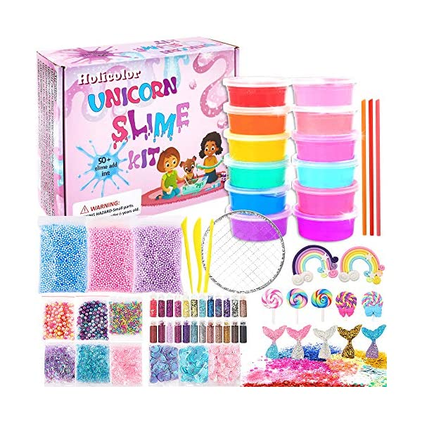 HOLICOLOR Unicorn Slime Kit, 12 Colors Crystal Clear Slime, DIY Slime Making Supplies Include Slime Charms, Glitter… 3
