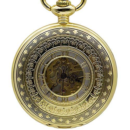 J-Love Reloj de Bolsillo mecánico con Caja de Oro Completo para Caballeros, Relojes de Bolsillo de Oro únicos para Hombres y Mujeres