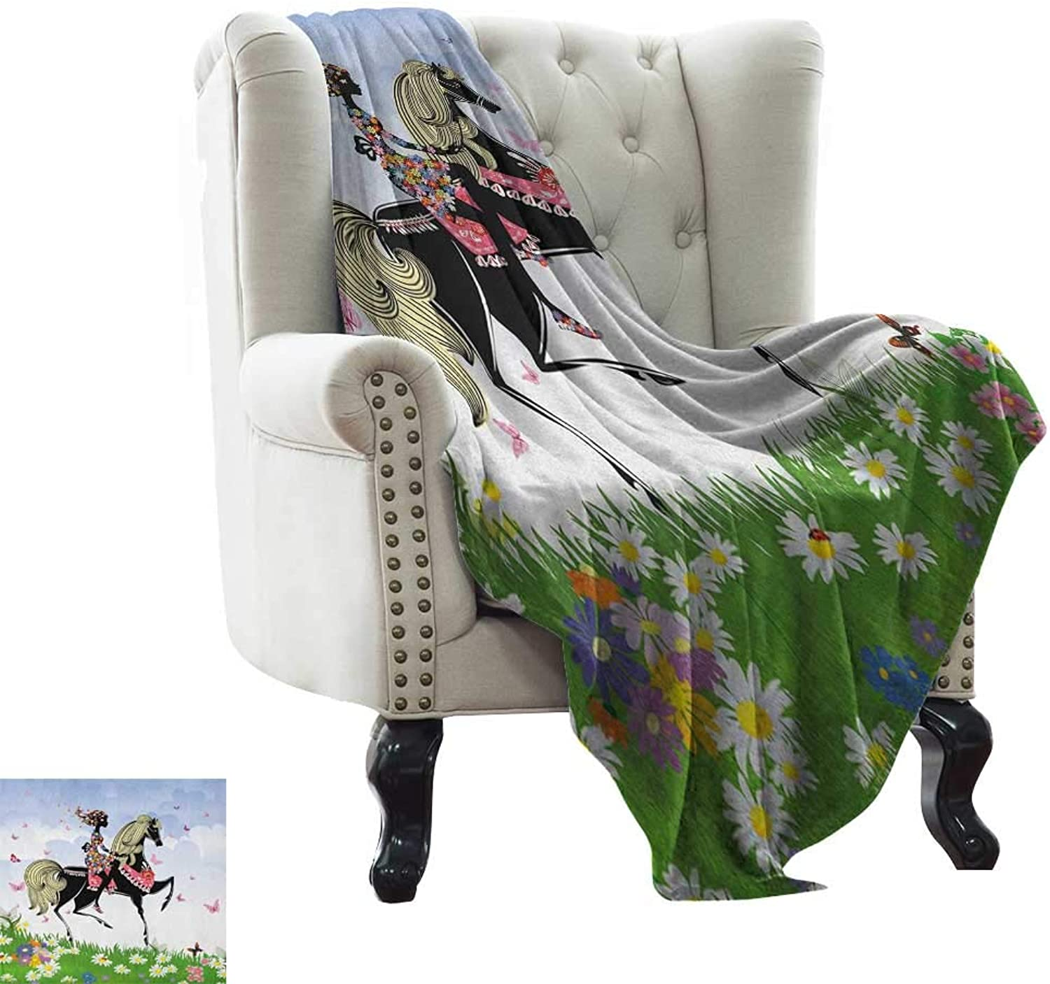 LsWOW Weighted Blanket for Kids Horse Lunarable, Floral Girl Riding Pony in Fantasy Spring Field Butterflies Daisies Girls Room Print, Multicolor colorful,Home,Couch,Outdoor,Travel Use 50 x60