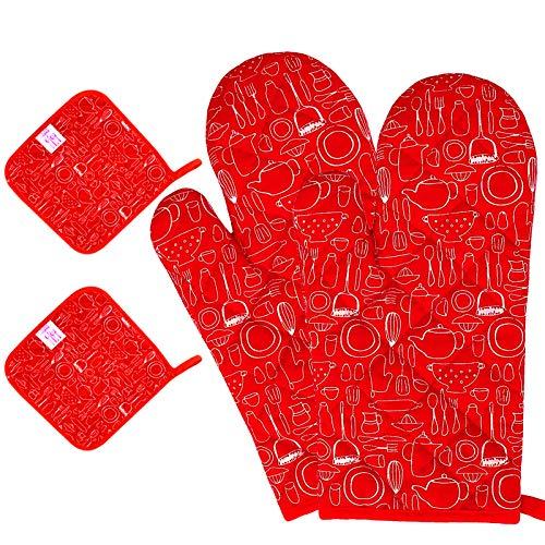 Juego de manoplas para horno y manoplas de horno, guantes de algodón, guantes de cocina, guantes de horneado, guantes resistentes al calor, guantes para chimenea, juego de 4 unidades, color rojo