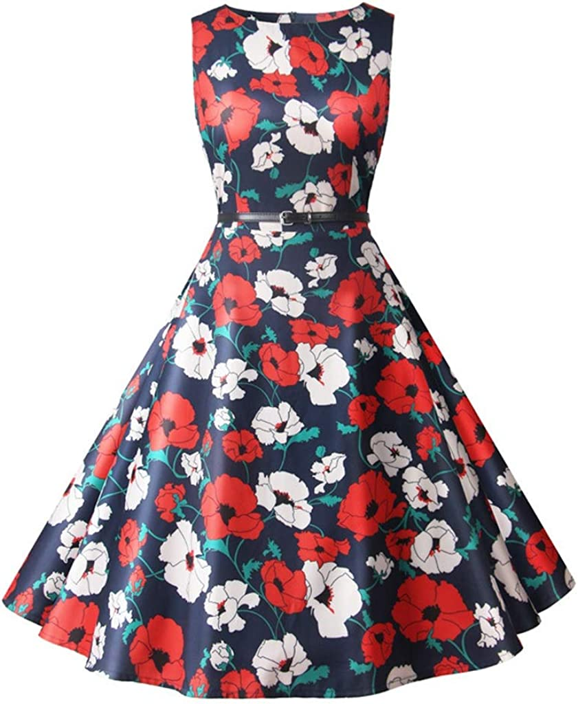 Dongjiguang Dress Printed Round Neck Waist Large and High Denver Mall favorite