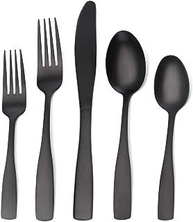Matte Black Silverware Set, Satin Finish 20-Piece Stainless Steel Flatware set, Tableware Cutlery Set Service for 4,Utensils for Kitchens, Dishwasher Safe