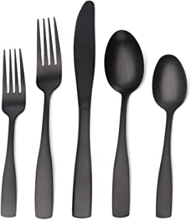 Matte Black Silverware Set, Satin Finish 20-Piece Stainless Steel Flatware set, Tableware Cutlery Set Service for 4,Utensils for Kitchens, Dishwasher Safe