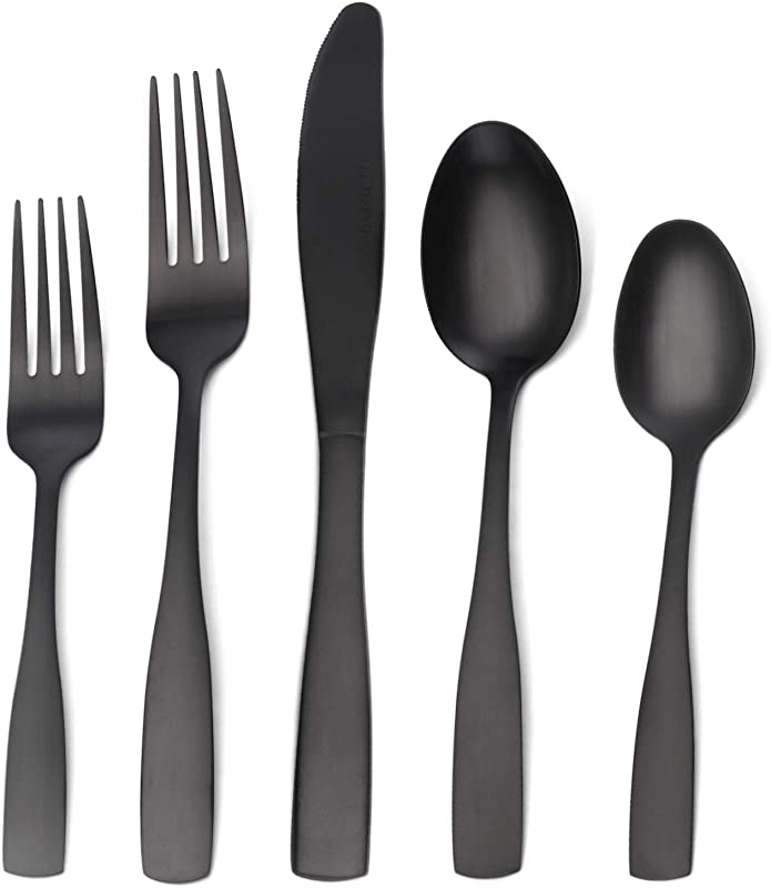 Matte Black Silverware Set Satin Finish 20 Piece Stainless Steel Flatware Set Tableware Cutlery Set Service For 4 Utensils For Kitchens Dishwasher Safe