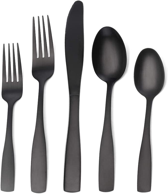 Matte Black Silverware Set Satin Finish 20 Piece Stainless Steel Flatware Set Tableware Cutlery Set Service For 4 Utensils For Kitchens Dishwasher Safe