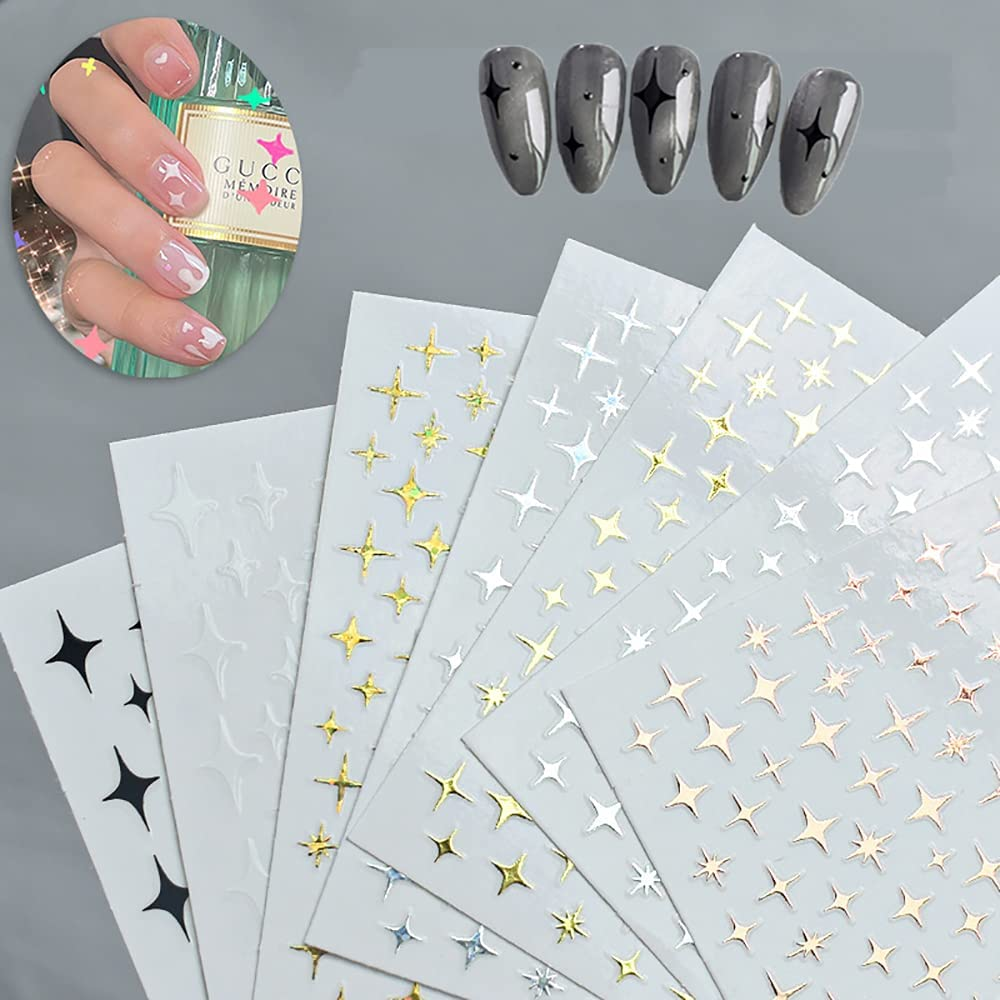 6 Sheets 3D Sales Star Nail Stickers Limited price Luxury Suppli Art Decals