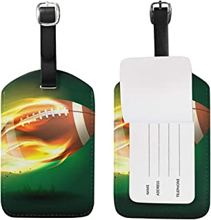 Luggage Tags Vintage Sports American Football Soccer Fire Flames Travel Baggage Tags