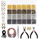 Quefe 4294pcs Jewelry Findings Kit with Open Jump Rings, Lobster Clasp, Black Lasso Strap, Colorful Waxed...