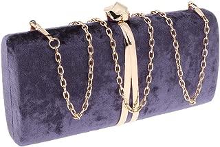Prettyia Women Velvet Evening Bag Clutch Purse,Handbag Shoulder Bag with Detachable Chain for Wedding Cocktail Party