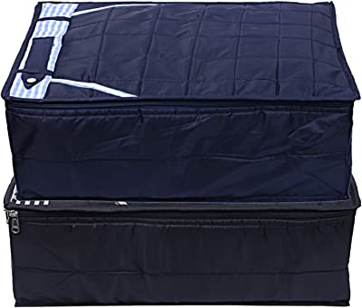 Kuber Industries Parachute Waterproof 2 Pieces Trouser Cover Quilted/Wardrobe Organizer (Black & Blue) - CTKTC023221