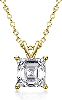 """AINUOSHI Gold Plated Sterling Silver Cubic Zirconia Asscher Cut Solitaire Pendant Necklace, 18"""""""